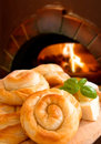 Bakery background cheese pie on fireplace Royalty Free Stock Images