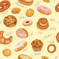 Bakery background seamless pattern with various pastries Stock Photo