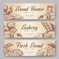 Bakery banners. Hand drawn cooking bread bakery bagel breads pastry rye bake baking pumpernickel culinary banner set
