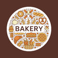 Bakery, bread house poster template. Vector food line icons, illustration of sweets, pretzel, croissant, muffin, pastry