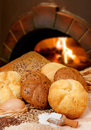 Bakery bread on a oven background Royalty Free Stock Photos