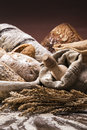 Bakery and bread traditional set of loaves other ingredients Royalty Free Stock Photo