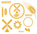Bakery bread wheat isolated objects on white background vector illustration eps Stock Photos