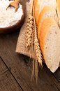 Bakery bread on a wooden table Stock Photography