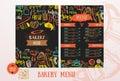 Bakery cafe menu design template.