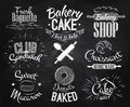 Bakery characters chalk in retro style lettering donuts croissants macaron stylized drawing with on blackboard Royalty Free Stock Photos