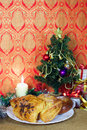 Bakery for Christmas gift decorated tree vertical Royalty Free Stock Images