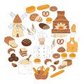 Bakery collection doodle style vector illustration