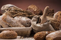 Bakery concept fresh bread traditional set of loaves and other ingredients Royalty Free Stock Photos