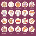 Bakery, confectionery flat line icons. Sweet shop products - cake, croissant, muffin, pastry, cupcake, pie Food thin