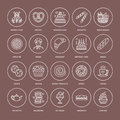 Bakery, confectionery line icons. Sweet shop products cake, croissant, muffin, pastry cupcake, pie Food thin linear