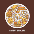 Bakery, confectionery poster template. Vector food line icons, circle colored illustration of sweets, pretzel, croissant