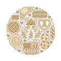 Bakery, confectionery poster template. Vector food line icons, circle illustration of sweets, pretzel, croissant muffin