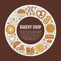 Bakery, confectionery poster template. Vector food line icons, illustration of sweets, pretzel, croissant, muffin