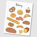 Bakery doodles lined paper illustration of colored on Stock Photo