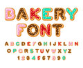 Bakery font. Donut ABC. Baked in oil letters. Chocolate icing an Royalty Free Stock Photo