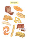 Bakery food set hand drawn illustrations Stock Photography