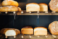 Bakery foodstuffs closeup of an assortment of on shelves Royalty Free Stock Image