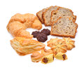 Bakery foodstuffs set on a white background Stock Photo