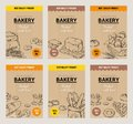 Bakery hand drawn posters. Vintage bread menu design template, sweet cookies and pies doodle sketch. Vector wheat flour