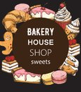 Bakery house shop menu template with various sweets. Croissant, cake, cupcake, macaron. Place for text. Line art