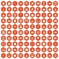 100 bakery icons hexagon orange