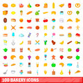 100 bakery icons set, cartoon style