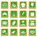 Bakery icons set green