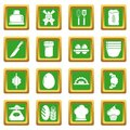 Bakery icons set green square vector Royalty Free Stock Photo
