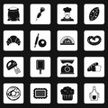 Bakery icons set squares vector