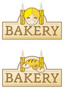 Bakery label with girl Stock Photography