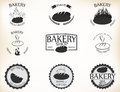 Bakery labels and badges with retro vintage style design illustration of Royalty Free Stock Photo
