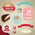 Bakery labels elegant and cupcakes ribbons Royalty Free Stock Image