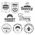 Bakery labels set of and symbols in vector Royalty Free Stock Image