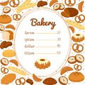 Bakery menu or price poster with a central list in an oval frame surrounded by pretzels muffins loaves of bread bagels Royalty Free Stock Photography