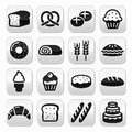 Bakery pastry buttons set bread donut cake cupcake vector grey square isolated on white baking food restaurant concept Royalty Free Stock Photos
