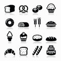 Bakery pastry icons set bread donut cake cupcake vector isolated on white baking food restaurant concept Stock Photos