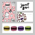 stock image of  Bakery, pastry sweets and desserts vector banners with cakes and cupcakes, muffins, pies and tarts, vanilla biscuit puddings.