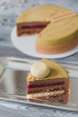 Bakery with piece of unusual yellow mousse cake with almond dacquoise, raspberry confit, crispy layer with caramelized