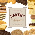 Bakery poster with bread and pastries collection.