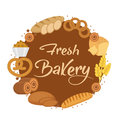 Bakery products frame, flat style. Set of different bread in a round  template for text, label, emblem. With inscription Royalty Free Stock Photo