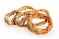 Bakery products pretzels delicious isolated in white background backed and bagel with seeds Royalty Free Stock Image