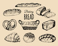 Bakery products set.Bread collection.Hand drawn loafs, croissant,bagel etc illustration with wicker basket.Pastry signs.