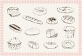 Bakery products set of sketches Stock Photos
