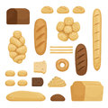 Bakery products. Vector illustration of different breads in cartoon style