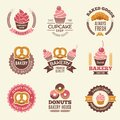 Bakery retro labels. Cupcakes donuts cookies and fresh bread vintage vector illustrations for stickers or badges design