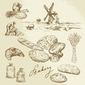 Bakery rural landscape bread hand drawn set Royalty Free Stock Image
