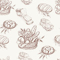 Bakery seamless pattern background bread Royalty Free Stock Images