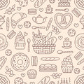 Bakery seamless pattern, food vector background of beige color. Confectionery products thin line icons - cake, croissant