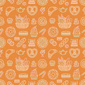 Bakery seamless pattern, food vector background of beige orange color. Confectionery products thin line icons - cake